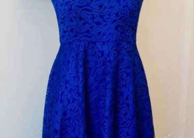Blue lace satin dress