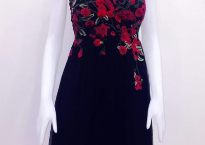 Chiffon red black dress-1