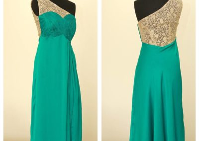Green and gold gown