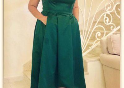 Green-off-shoulder dress