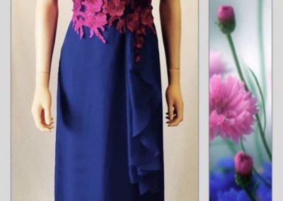 Pink royal blue chiffon dress