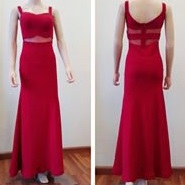 Red illusion prom dress